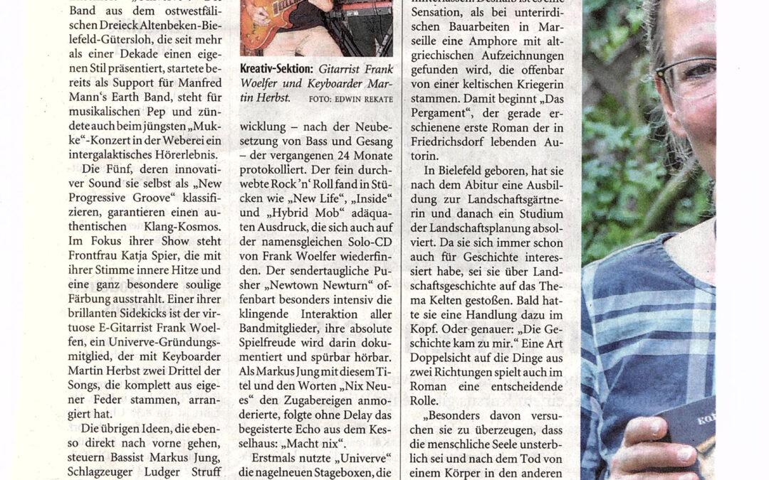 Zeitungsbericht zum UNIVERVE-Konzert in der Weberei Gütersloh